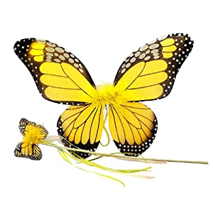 Amazon.com: Yellow Monarch Butterfly Wing & Wand Set: Toys & Games