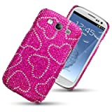 SAMSUNG GALAXY S3 SIII HEARTS DIAMANTE DISCO BLING BACK COVER BY CELLAPOD CASESby CELLAPOD