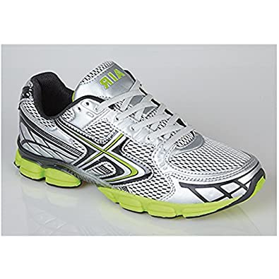 Mens Shock Absorbing Running Trainers grey/lime (12 UK, White)