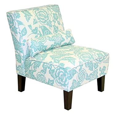 Product Image Bird and Floral Print Slipper Chair - Robin's Egg