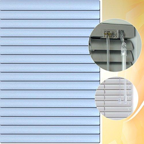 Aluminium Jalousie 160 x 220 cm (Breite x Höhe) – Lamellenfarbe 1504 sky chrom // Maßanfertigung Alu Jalousien Jalousette Rollo Plissee