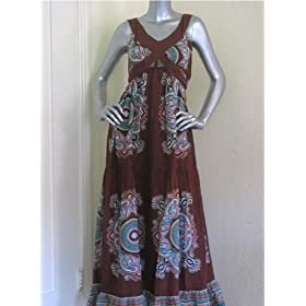 Pura Vida Printed Maxi Dress in Brown