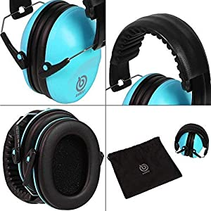 EAREST Protection Ear Muffs, Noise Reduction Safety Ear Muffs Shooting Earmuff with A Useful Carring Bag + Belt, NRR 28DB Professional Ear Defenders for Adults and Children (Robin Egg Blue 2) (Color: Robin Egg Blue 2)