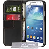 Yousave Accessories Samsung Galaxy S4 Case Black PU Leather Wallet Cover
