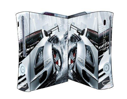 Bundle Monster Vinyl Skins Accessory For Xbox 360 Game Console - Cover Faceplate Protector Sticker Art Decal - White Race Car