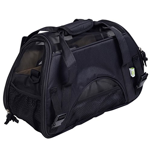 Super buy Large Pet Carrier OxFord Soft Sided Cat/Dog Comfort Travel Tote Shoulder Bag (Black)