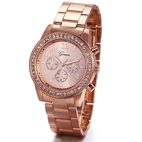 Jewelrywe Rotondo Dial Fascia in Acciaio Orologio da Polso al Quarzo con Rhinestone Rose Gold Arabic Numbers