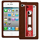 Brown Retro Xylo-Tape Cassette Silicone Cover / Skin / Case for the Apple iPhone 4 4G 4S.