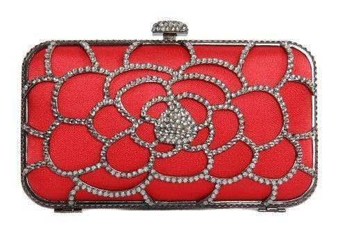 Red satin box clutch handbag minaudiere pod style bag covered in a diamante frame by Olga Berg