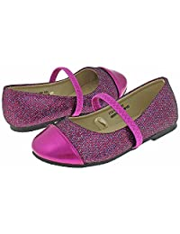 Capelli New York Toddler Girl's Glitter Faux Leather Flat with Metallic Toe
