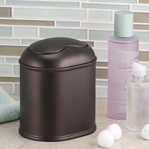 York vanity countertop waste basket trash can bin luxury bathroom storage bronze ebay Lidded trash can for bathroom