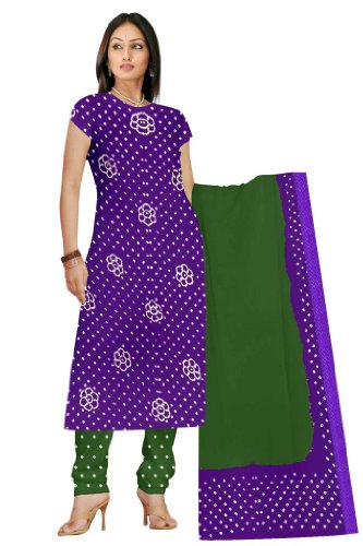 Sanskruti Kalasanskruti Green And Purple Cotton Salwar Suit Set (Multicolor)