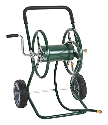 IKAYAA Garden Hose Reel Cart, Steel Frame 2 Wheel Outdoor Water