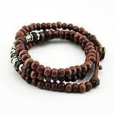 Wood Beads Bracelet with Alloy Decoration Buttons Activity of Carve Patterns on Woodwork Bracelet