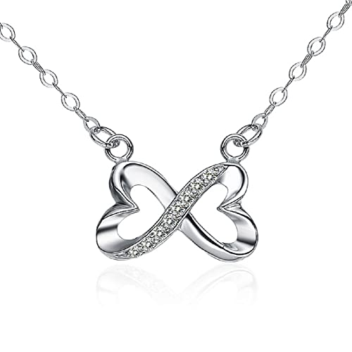 Queen Jewelers Sterling Silver CZ Heart Infinity Necklace Pendant