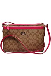 Coach Signature PVC East West Pop Crossbody Bag F52657 Khaki Pink Ruby