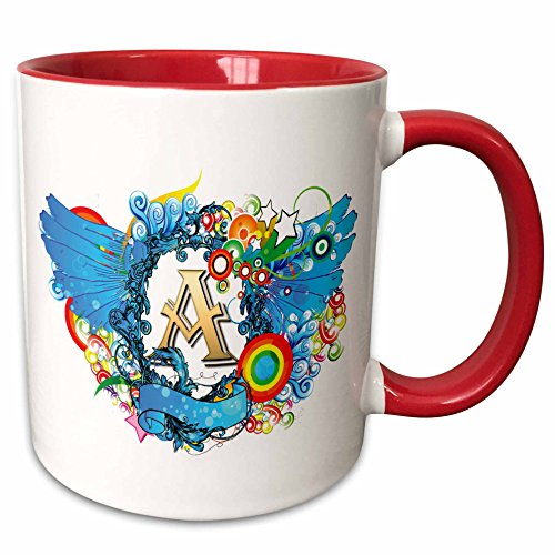 Anne Marie Baugh - Monograms - Blues Wings With A Gold Letter A Monogrammed Center - 11oz Two-Tone Red Mug (mug_236111_5) (Monogram Beverage Center compare prices)