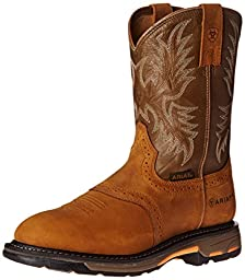 Ariat Men\'s Workhog Pull-On Work Boot, Aged Bark/Army Green, 10 EE US