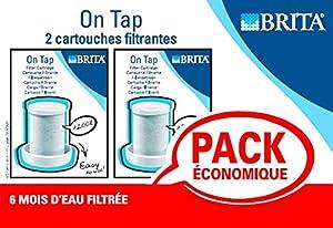Brita L12502- Lot de 2 cartouches pour filtre sur robinet On Tap Blanc ou chrome