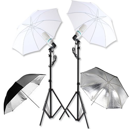 Black Silver White Four Umbrellas Continuous Lamp Bulb 135W 5500K Photography Photo light Stand Studio Lighting Kit Set