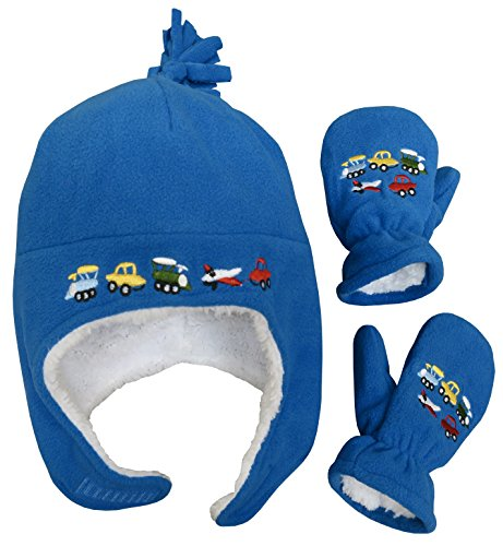 N'Ice Caps Little Boys and Baby Sherpa Lined Fleece Embroidered Hat Mitten Set (2T-4T, Royal)
