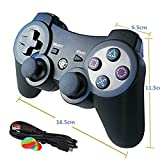 PS3 Controller Wireless Dualshock3 Joystick - OUBANG Upgrade Version Patent Remote Best Bluetooth Sixaxis Control Gamepad Heavy-duty Game Accessories for PlayStation3 (Black) (Color: Black)