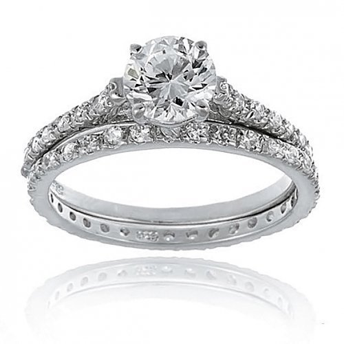 Bling Jewelry Bridal CZ Solitaire Engagement & Wedding Ring Set