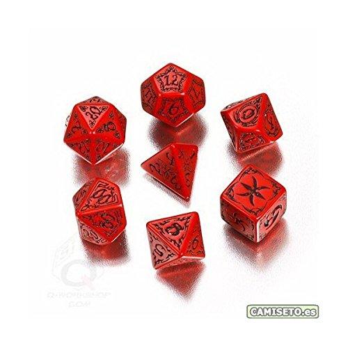 Q-Workshop Polyhedral 7-Die Set: Carved Red & Black Tribal Dice (7)