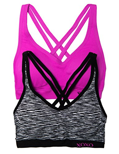 XOXO Juniors 2 Pack Cross Back Comfort Sports Bra with Removable Pads (Small, Spc/Cur) (Sports Bra Removable Pads compare prices)