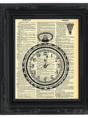 Dictionary Art Print Pocket Watch Printed On Recycled