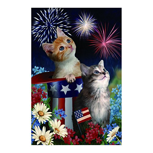 Polyester Fabric Garden Flags Lovely Kitties With Dasies American Hat Fade And Mildew Resistant Custom Banners Of Waterproof 12.5 X 18 Inch (Moose Flag Bracket compare prices)