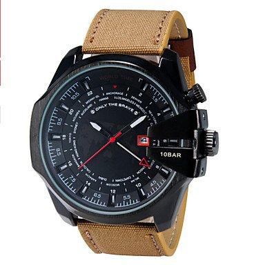 Doppio fuso vigilanza di sport russo orologi al quarzo militari, da uomo casuale relogio masculino reloj hombre ( Colore : Nero , Taglia : Taglia unica )