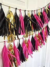 Sorive® Black Fuchsia Gold Mixed Colors Tissue Paper Tassel Garland Bunting for Baby Shower, Bridal Shower, Birthday Party, Nursery Decoration Pom Poms (Black Fuchsia Gold)