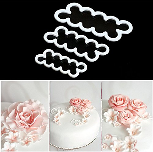 KOOTIPS The Perfect Rose Ever Cutter / Cake Decorating Gumpaste Flowers Rose Ever Cutter Cookie Cutters Set of 3 (Fondant Cookie Cutters compare prices)