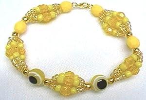 Santeria. Yoruba. Mazo's Idde Bracelet for Oshun Orisha. Pulsera Ilde