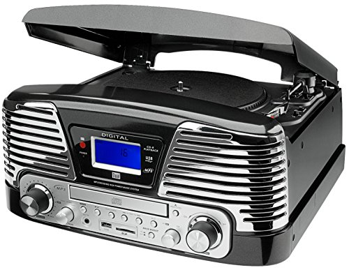 Dual NR 6 Nostalgie-Komplettsystem (UKW-Radio, Plattenspieler, Direct-Encoding, CD/MP3-Player, USB, SD-Card, Fernbedienung) schwarz