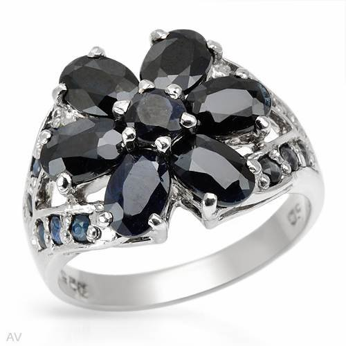 Ring With 4.35ctw Genuine Sapphires Beautifully Crafted in 925 Sterling silver. Total item weight 5.3g (Size 8)