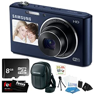 Samsung DV150F 16.2MP Dual-View Smart Camera w/ Built-in Wi-Fi in Cobalt Black + 8GB MicroSD HC Memory Card + Samsung Camera Case Black + Flexible Tripod, Memory Card Wallet, 3pc Cleaning Kit & 3 Screen Protectors + Micro Fiber Cleaning Cloth + 25 Free Quality Photo Prints