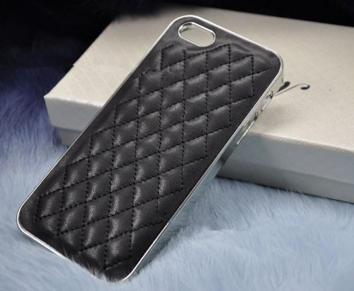 Luxurious Quilted Pattern Lamb Skin Leather Chrome Case For Iphone 5S / 5 (Black) front-49260
