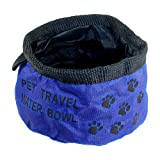 Blue Folding Pet Doggie Cat Picnic Traveling Food Water Bowl Dishes
