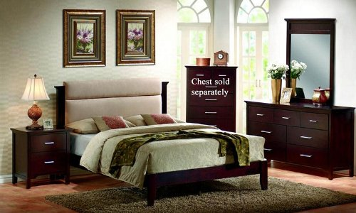 4pc King Size Platform Bedroom Set in Mahogany Finish