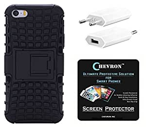 Chevron Hybrid Military Grade Dual Armor Kick Stand Back Cover Case for Apple iPhone 5 with HD Screen Guard & USB Mobile Wall Charger (Space Black)