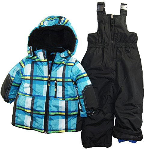 Rugged Bear Baby-Boys Infant Winter 2 Piece Plaid Snowsuit with Ski Pant Set, Blue, 12 Months