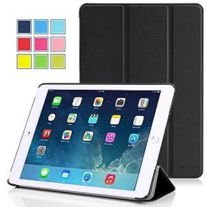 MoKo Apple iPad Air 2 (iPad 6) タブレット専用開閉式三つ折薄型スタンドケース。 BLACK