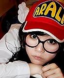 Dr.スランプ アラレ ちゃん 風 帽子+ メガネ 2点 セット 大人 用 コスプレ (ピンク×ブラック)