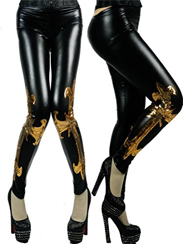 Black Faux Leather Golded Sequined Beaded Embroidery Cross Leggings Tights Pants
