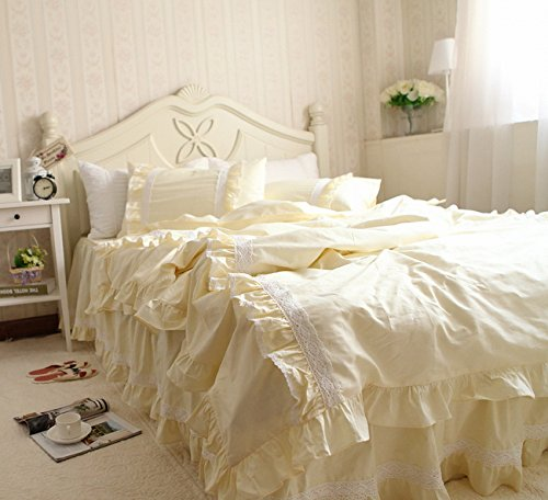 3Pcs Shabby And Vintage Style Lace With Ruffle Twill Light Yellow Cotton Bed Skirt Duvet Cover Bedding Set201434 (Twin)