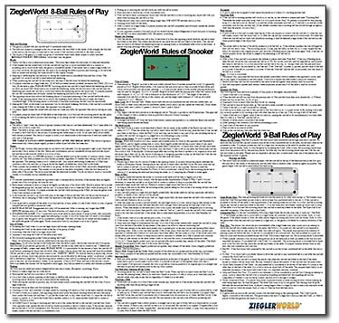 SUPER Large 22 inch x 22 inch Laminated Rules Poster for 8 Ball, 9 Ball and Snooker!