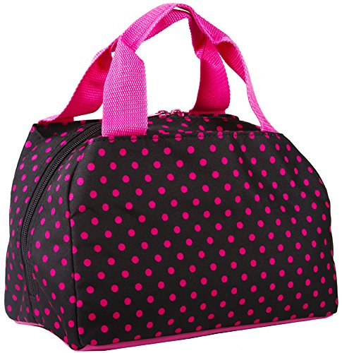 Ever Moda Black Fuschia Small Dots Insulated Lunch Bag 10-inch