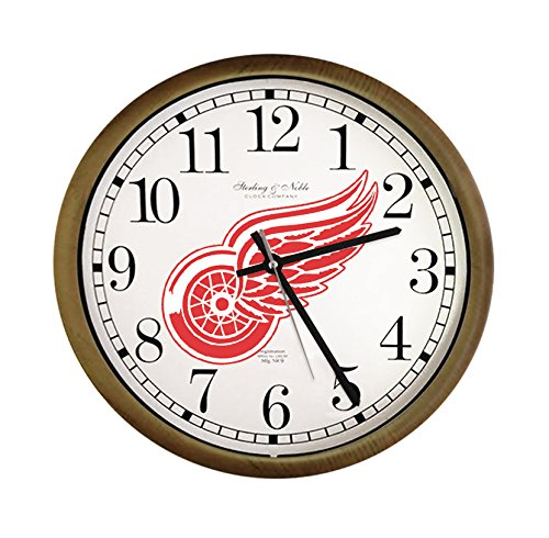 New Espresso / Cappuccino Finish Round Wall Hanging Clock featuring Detroit Red Wings Team Logo